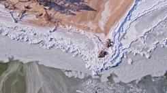 Sastērķelētās ledus mežģīnes Kolkas ragā. 19.02.2021