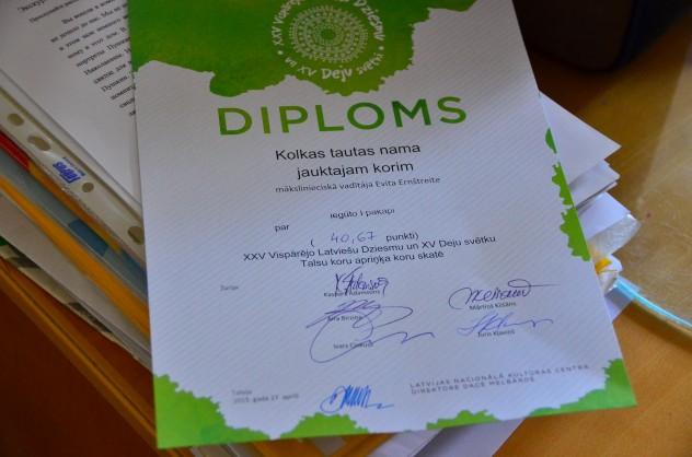 1. pakāpes diploms Kolkas jauktajam korim